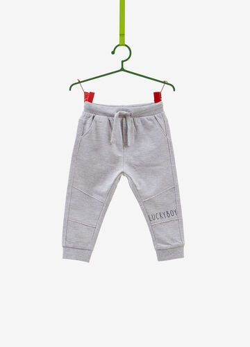 Mélange trousers with printed lettering