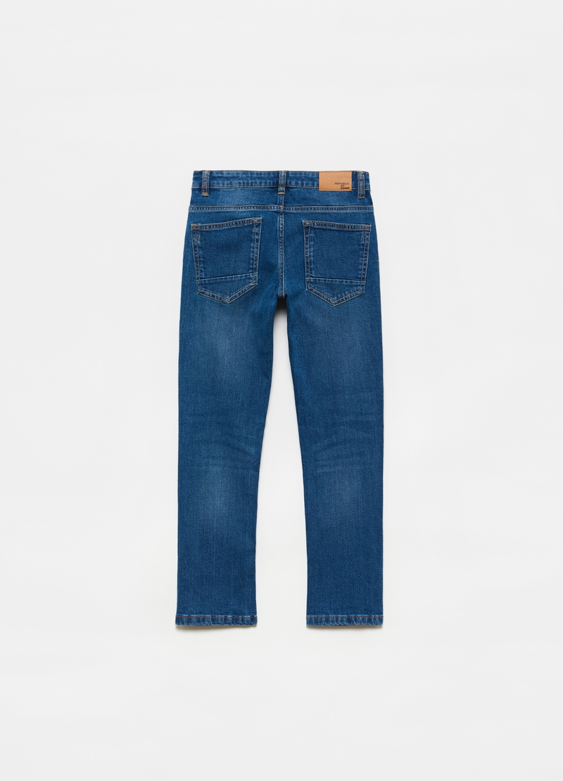 Straight-fit stretch jeans with five pockets image number null