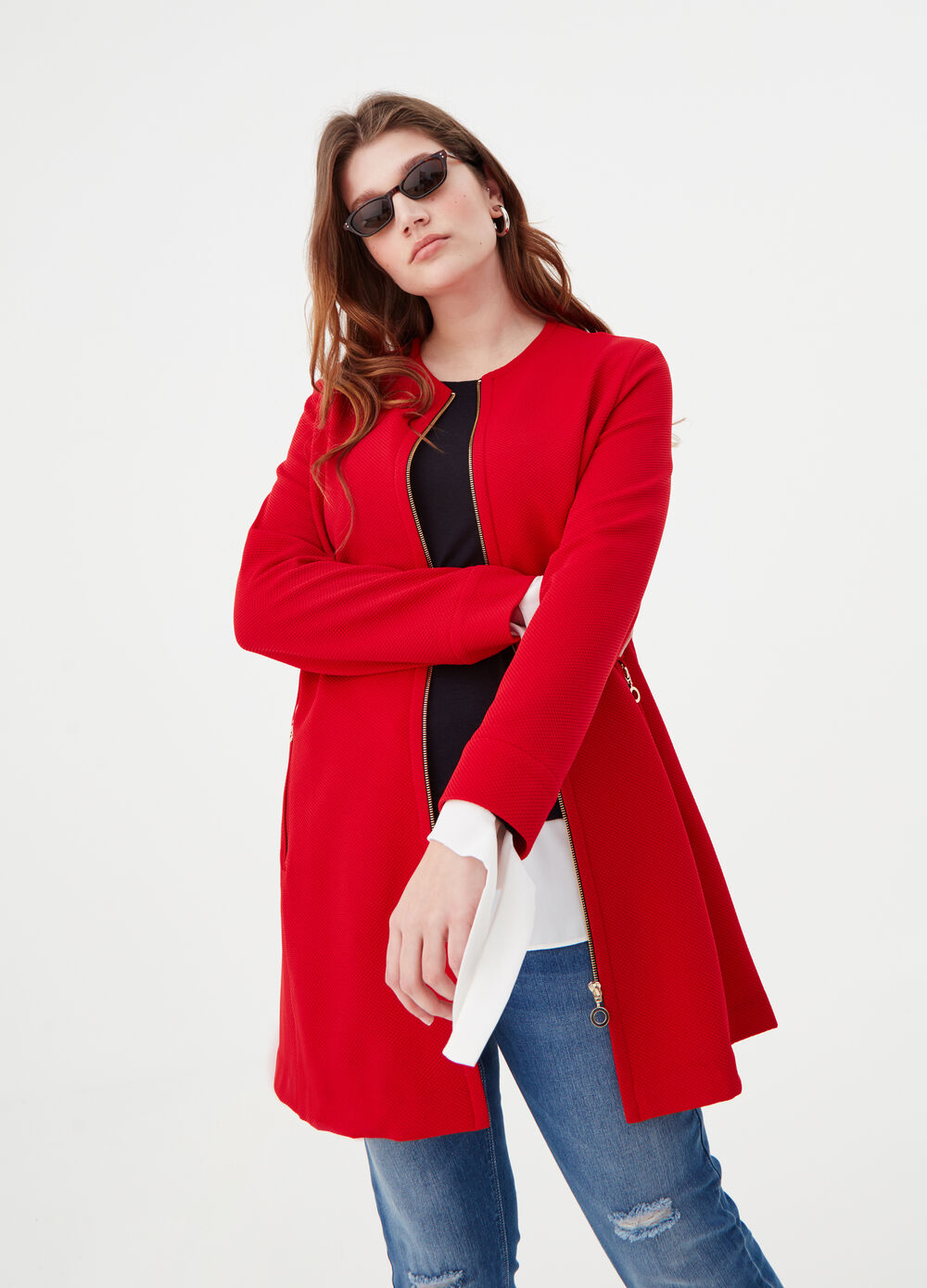 Curvy coat with piquet design