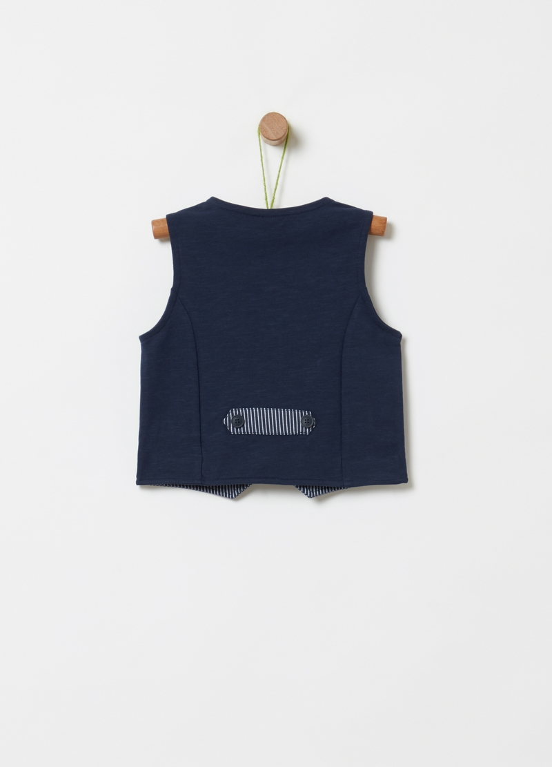 Gilet in cotone bio stretch a righe image number null