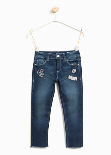 Used-effect stretch jeans with patches