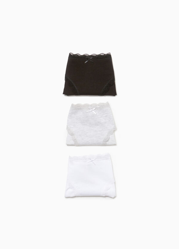 Three-pack briefs in 100% cotton with lace