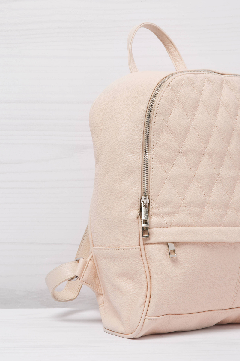 Solid colour leather look backpack image number null