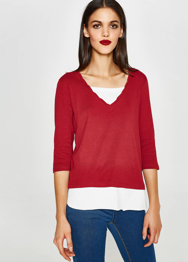 T-shirt with and faux layering on neck and hem | OVS