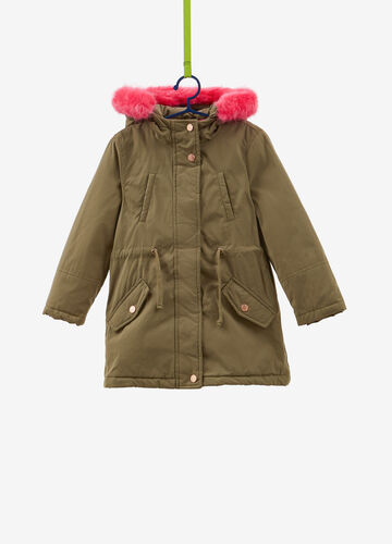Parka with hood with faux fur