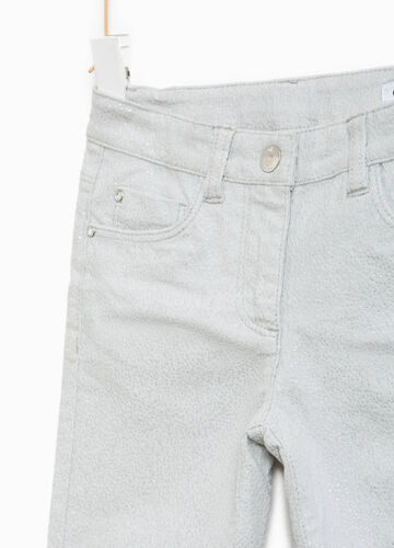 Pantaloni glitterati in cotone stretch