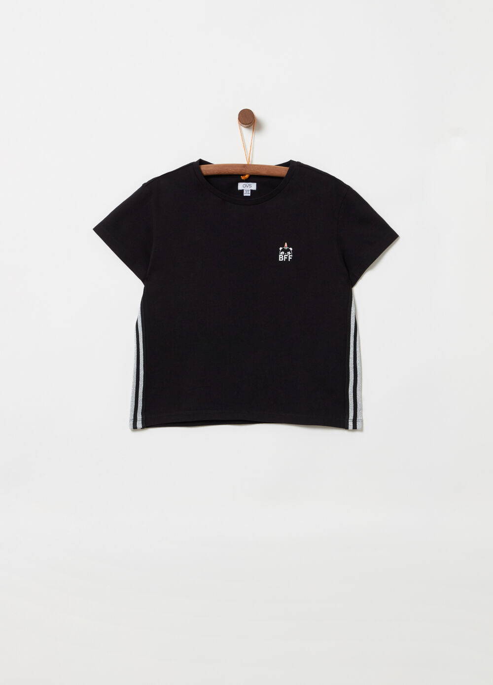 Boxy T-shirt with striped insert and glitter