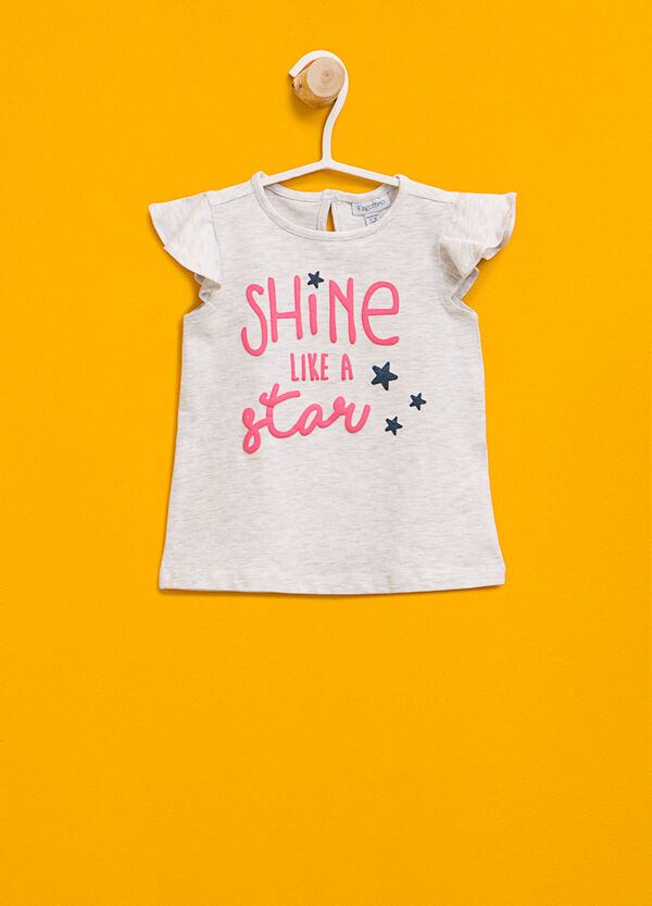 T-shirt with lettering print and flounce | OVS