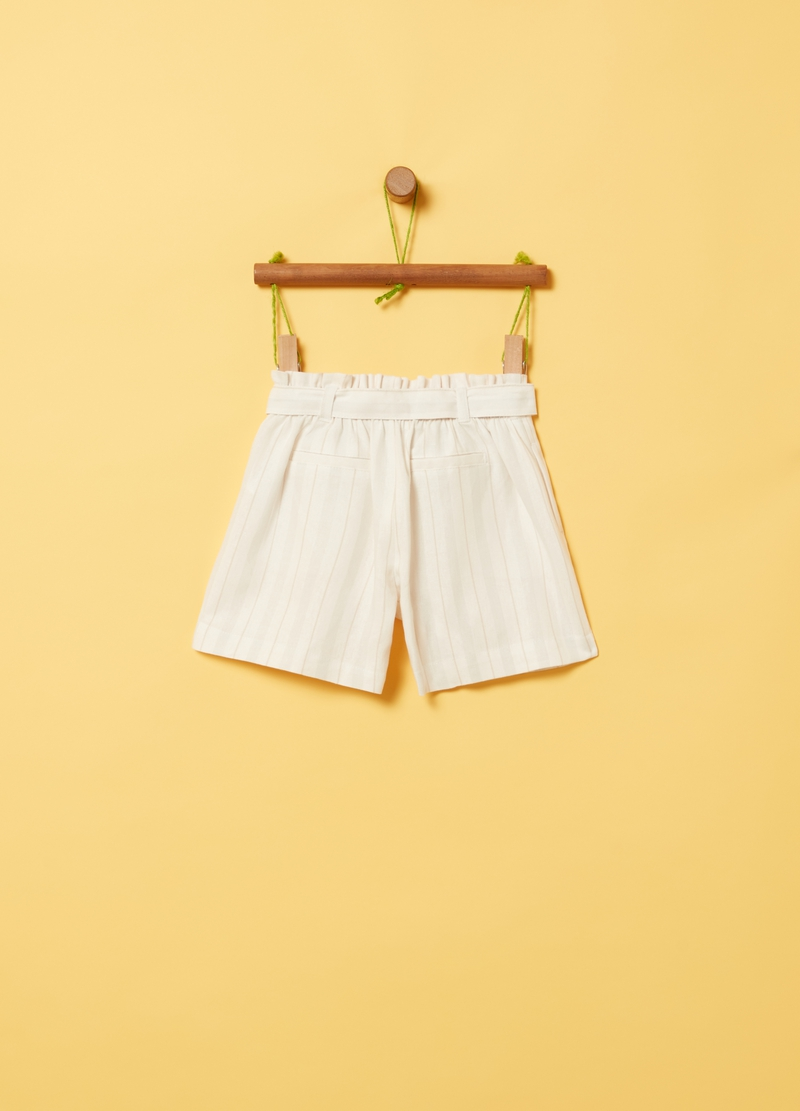 Shorts lino e viscosa a righe image number null
