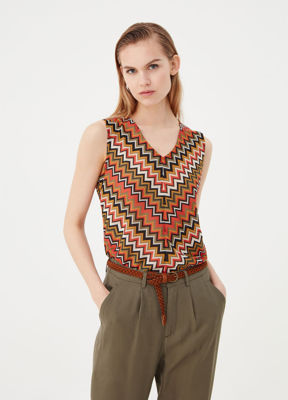 Tank top with wide straps and V neck