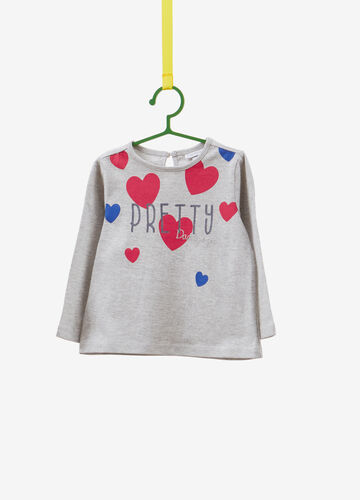 Cotton T-shirt with lettering and hearts print