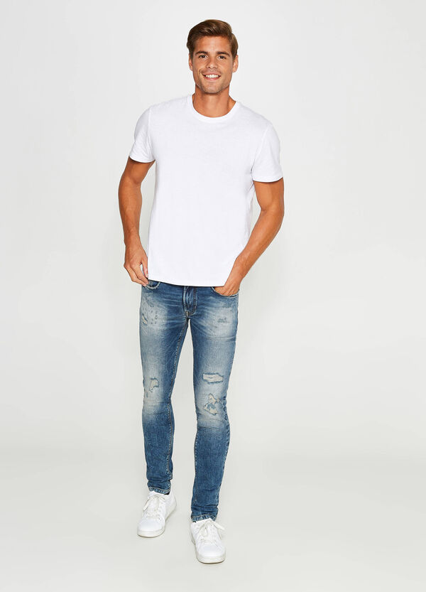 Jeans skinny fit stretch maltinti strappi