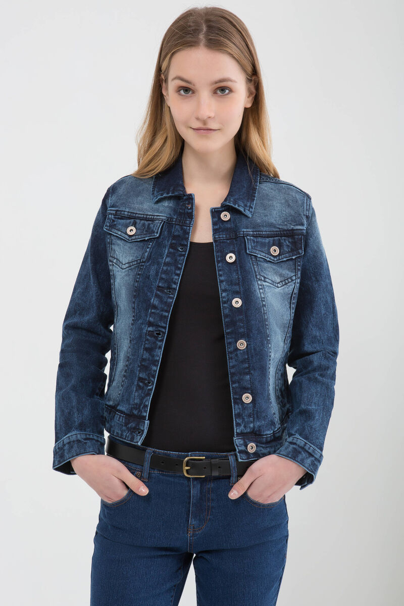 Denim jacket with faded effect
