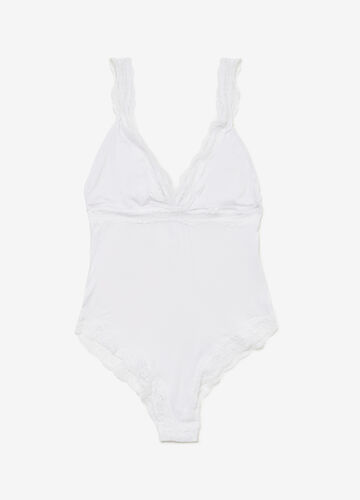 Stretch viscose bodysuit with lace