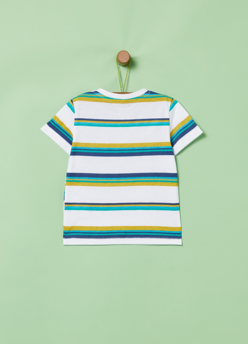 100% organic cotton T-shirt with stripes image number null