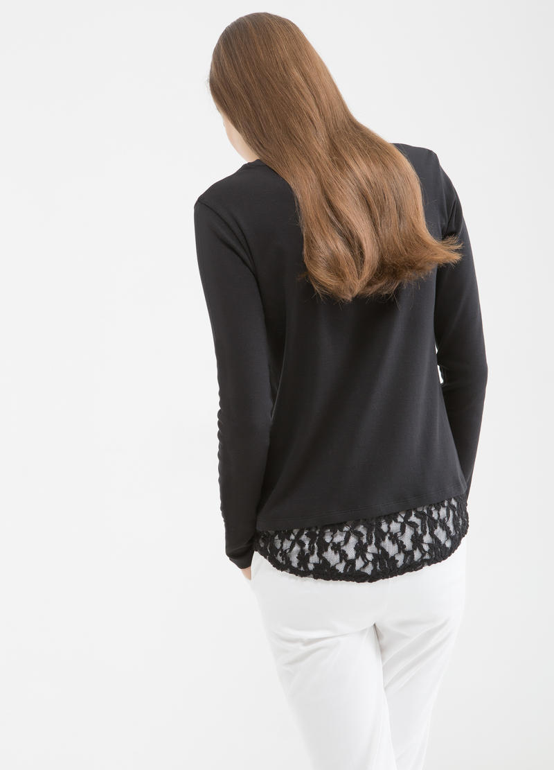 T-shirt puro cotone pizzo image number null