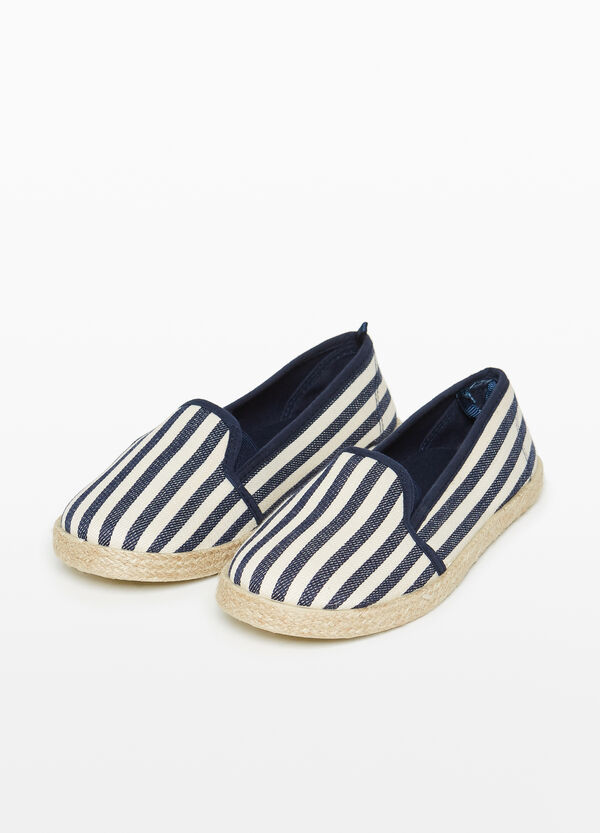 Striped pattern canvas slip-ons