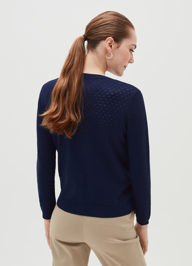 Cardigan with openwork weave image number null