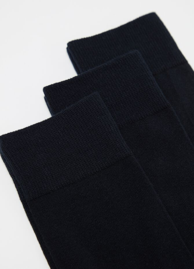 Three-pair pack short stretch socks with ribbing