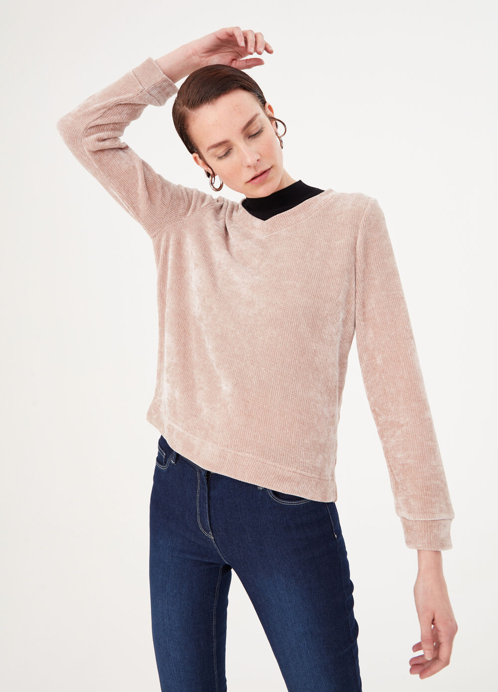 Chenille pullover with striped weave