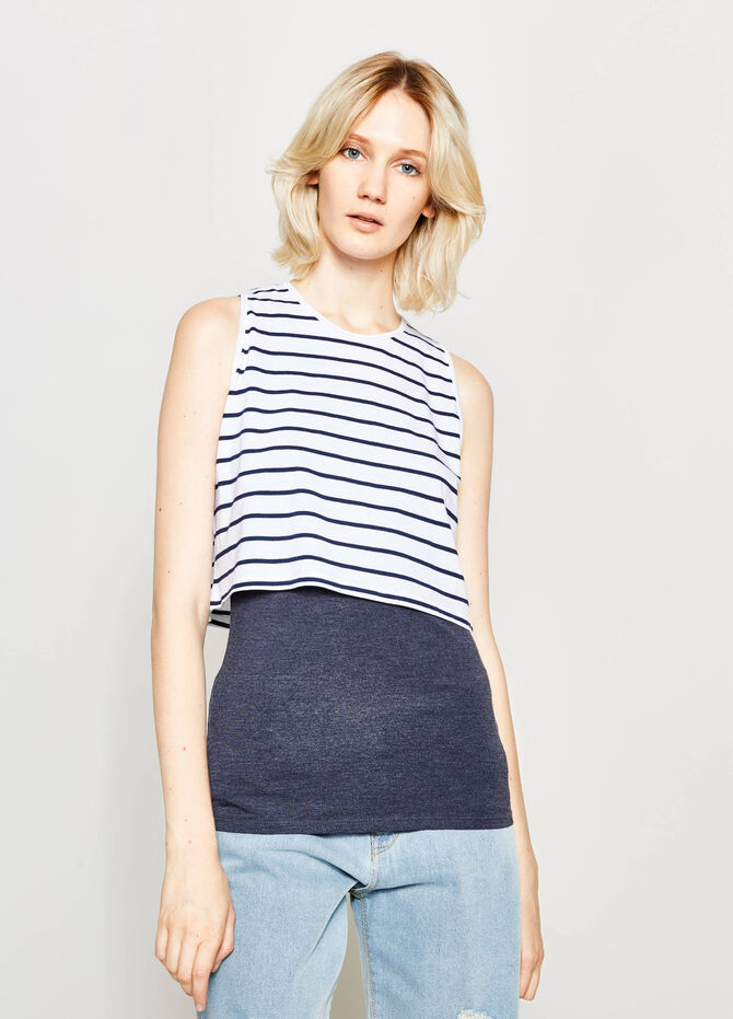 Faux layered striped top