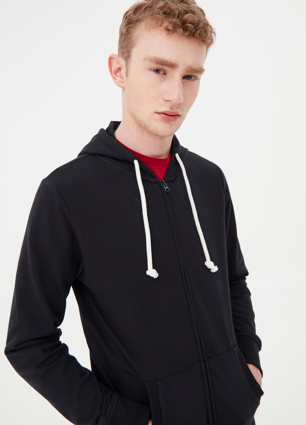 French terry sweatshirt with zip and hood