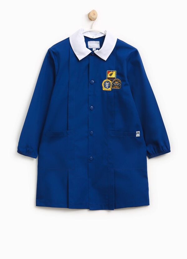 Cotton blend smock with patch