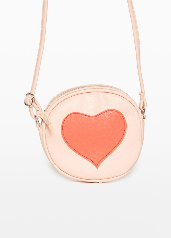 Shoulder bag with heart patches