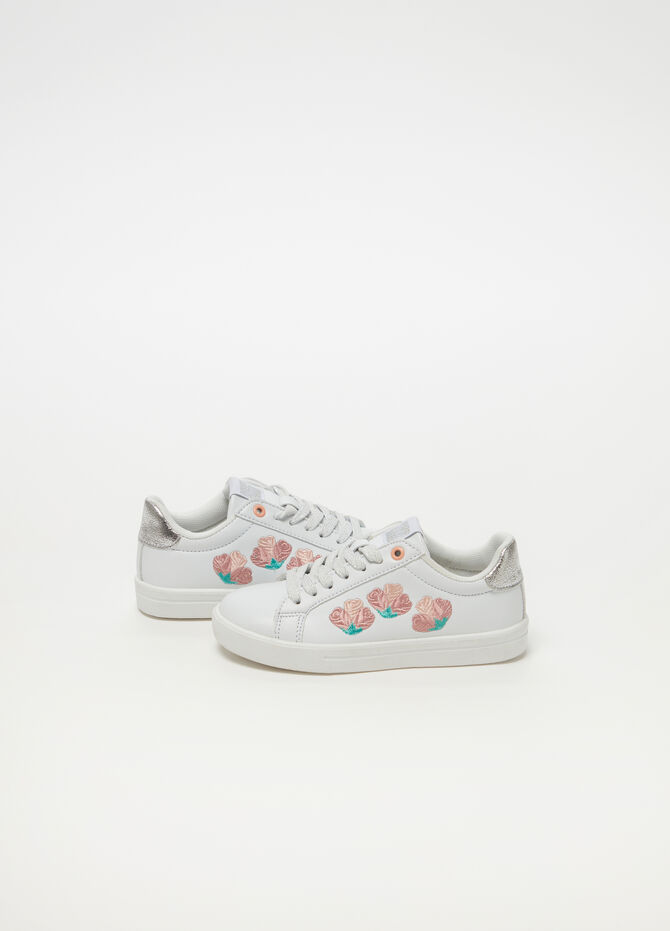 Sneakers with flower embroidery and glitter