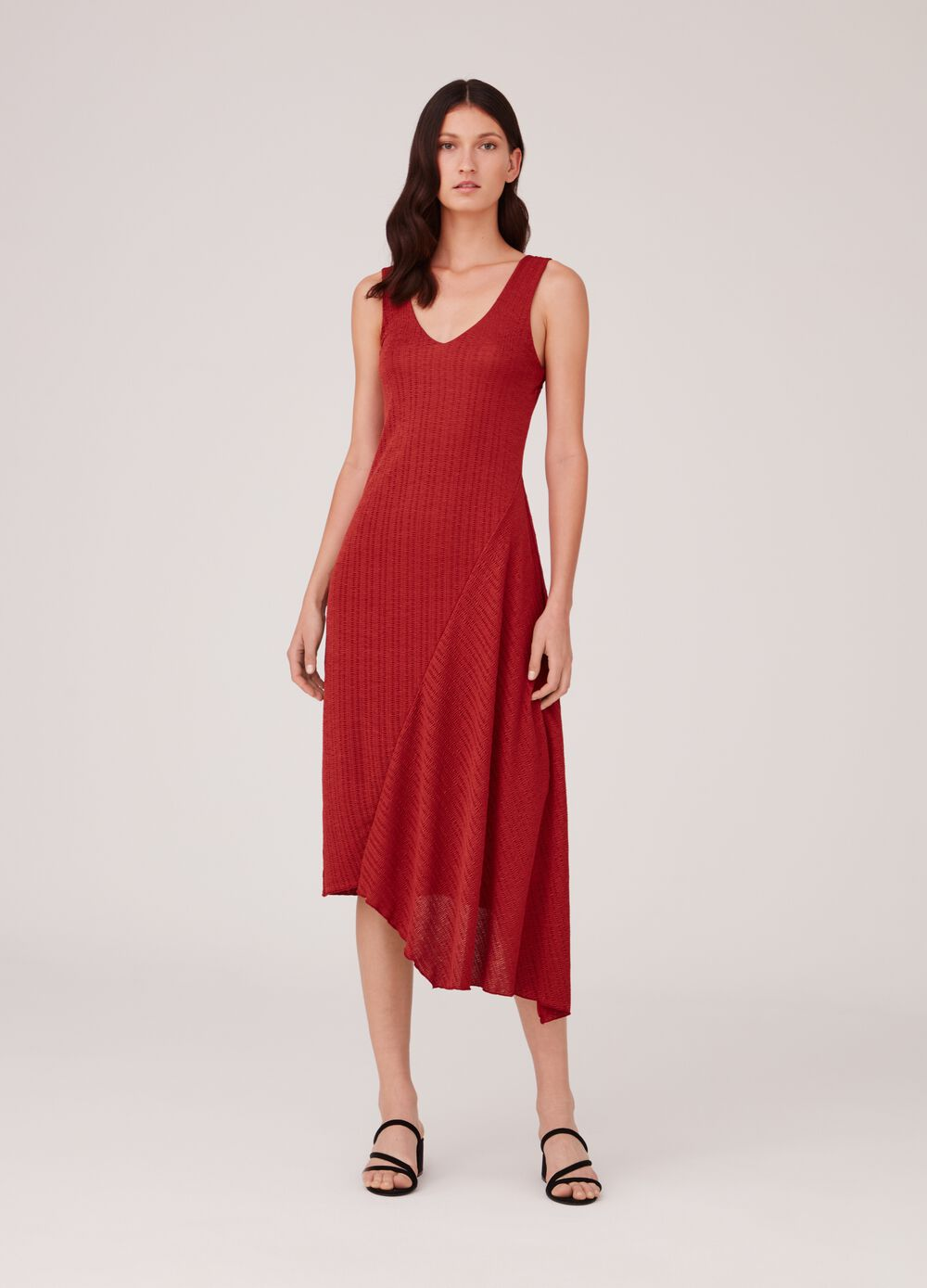 Asymmetric dress with striped weave and V-neck