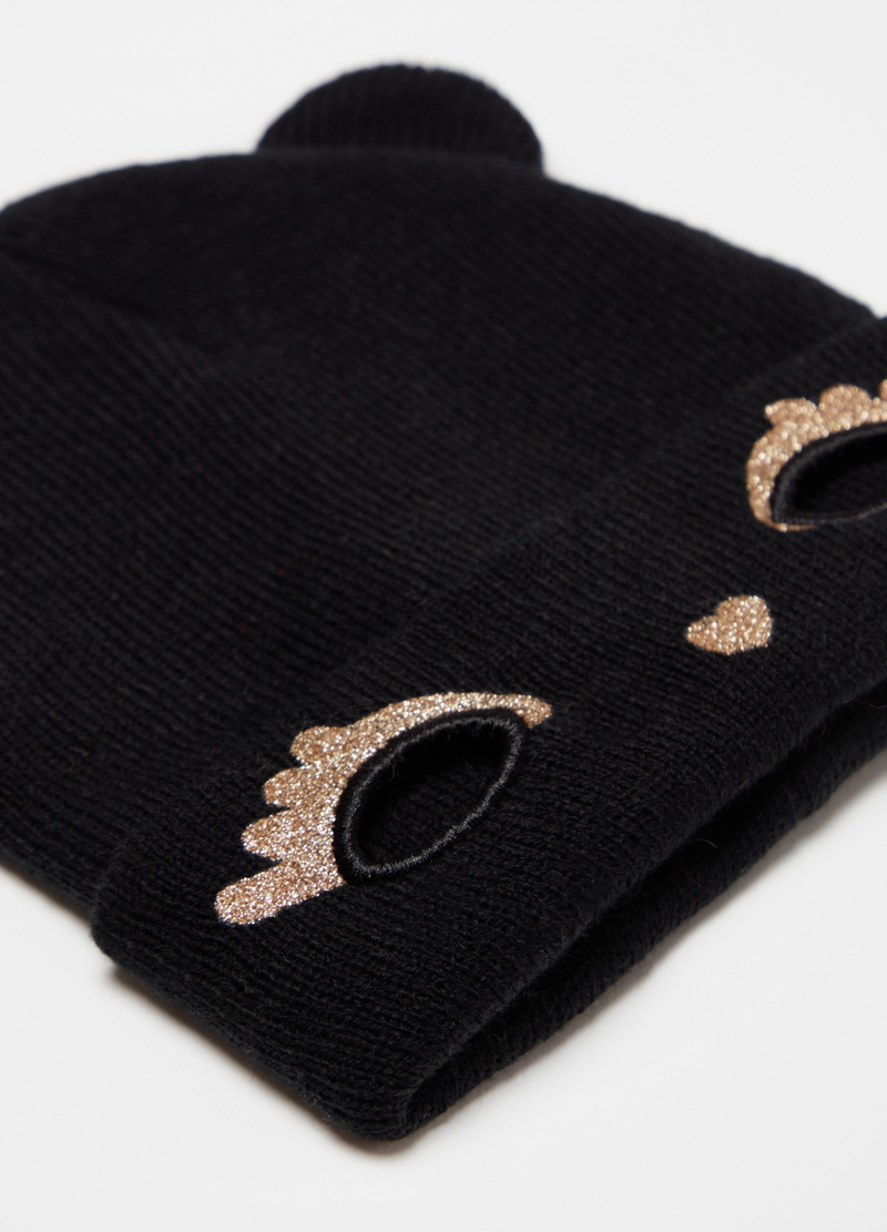 Hat with ears and glitter kitten embroidery image number null