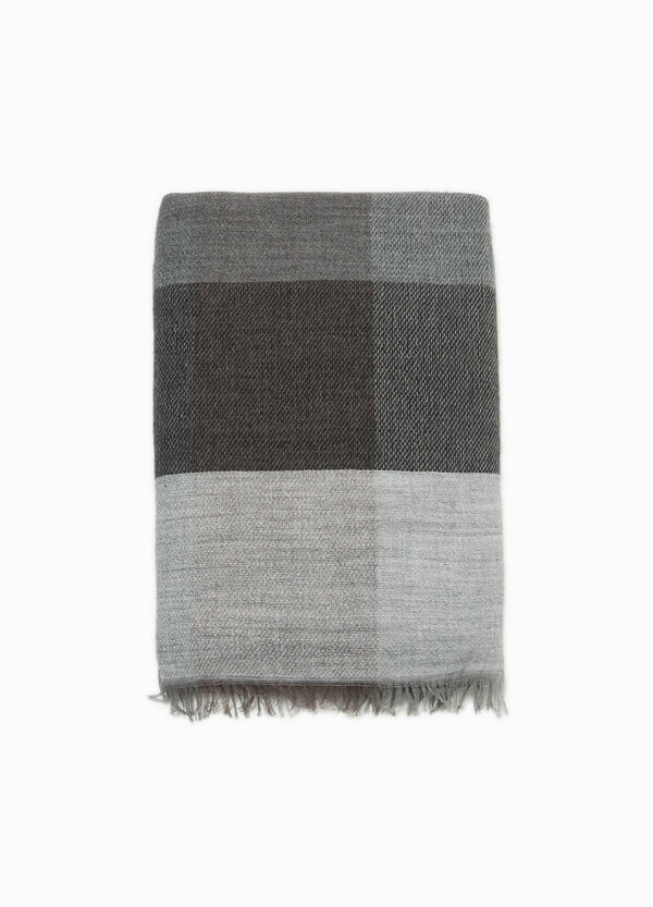 Check modal and alpaca wool scarf