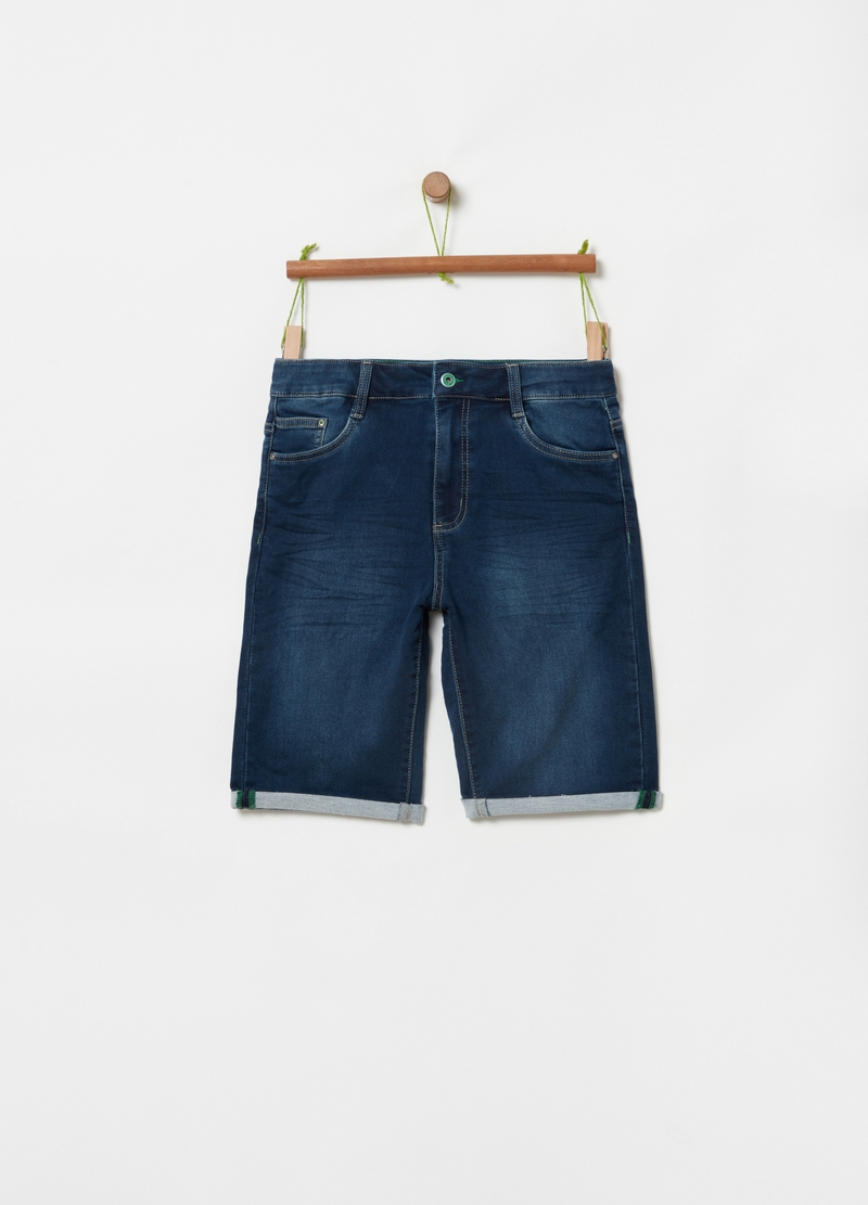 Denim Bermuda shorts with turn-ups image number null