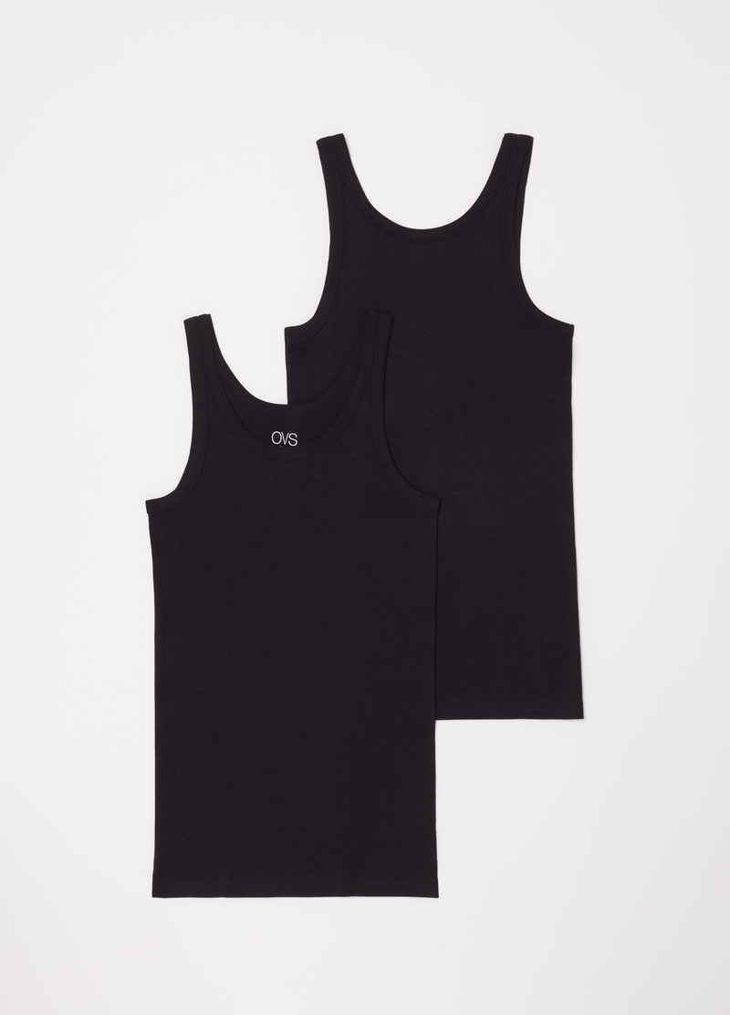 Two-pack racerback vests in 100% cotton image number null