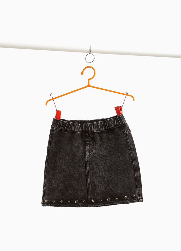 Stretch denim skirt with studs