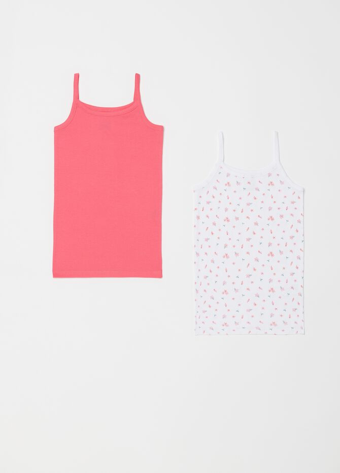 Set of two biocotton vests with spaghetti straps