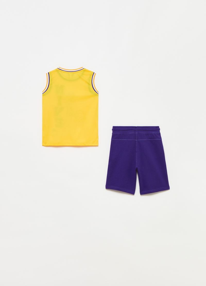 Space Jam jogging set with tank top and Bermuda shorts image number null
