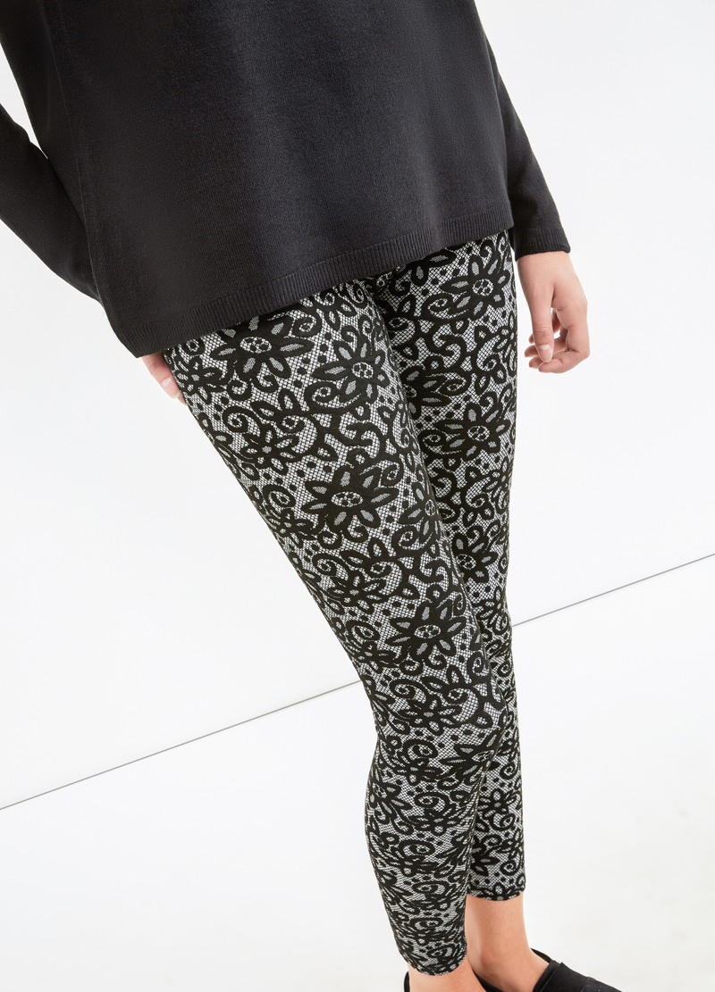 Leggings misto viscosa stretch a fiori image number null