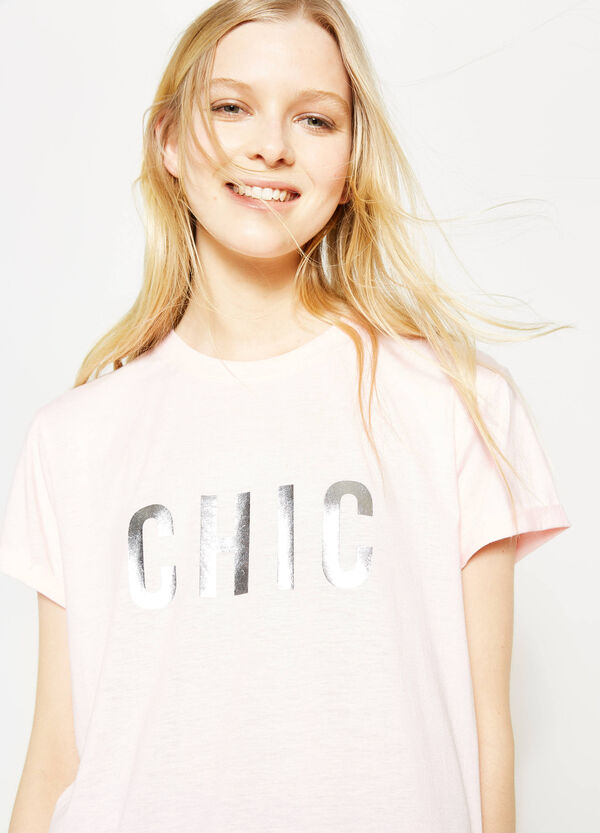 Printed T-shirt with round neck   OVS