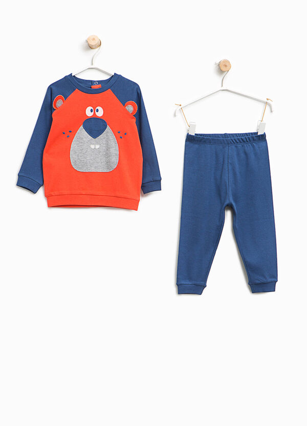 Organic cotton pyjamas with bear patch | OVS