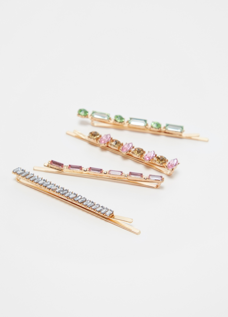Four-pack hairpins with diamantés image number null