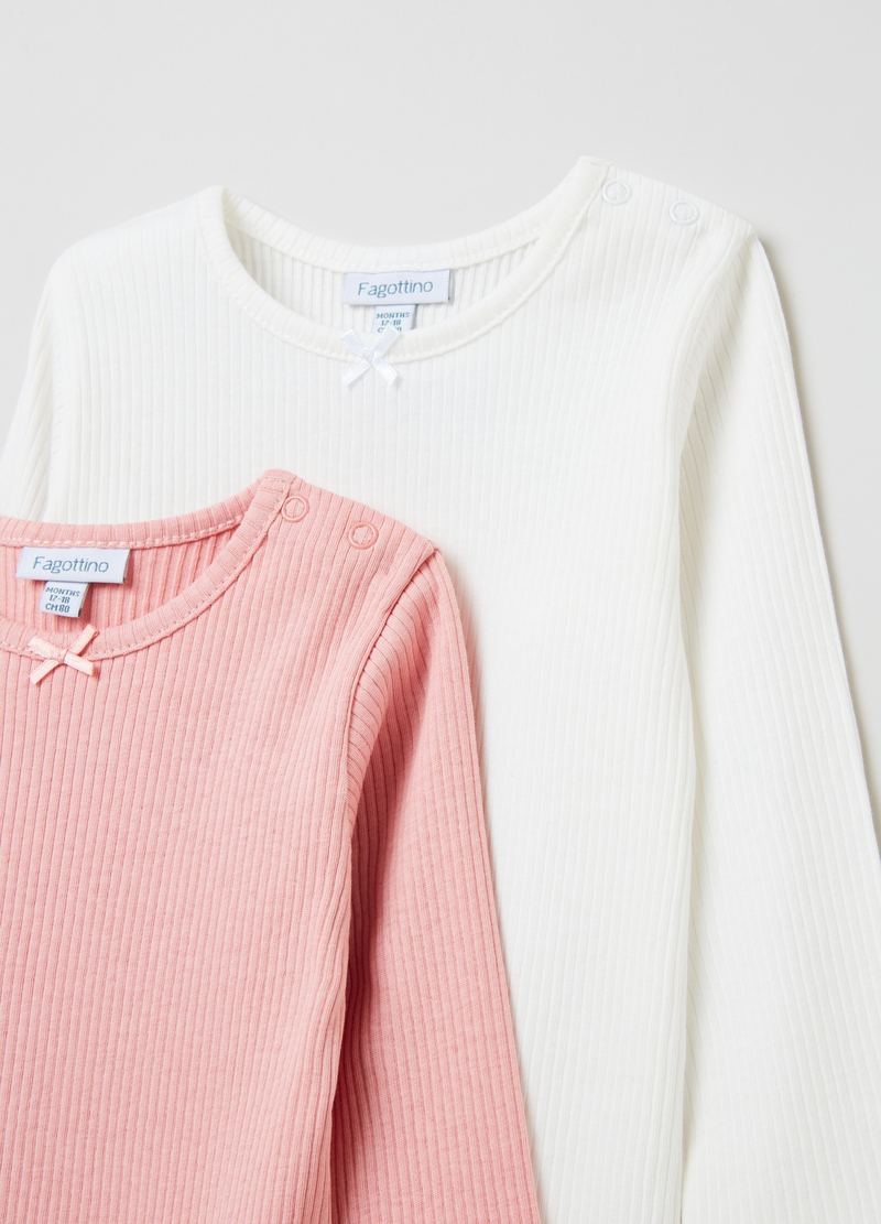 Two-pack cotton bodysuits with long sleeves. image number null