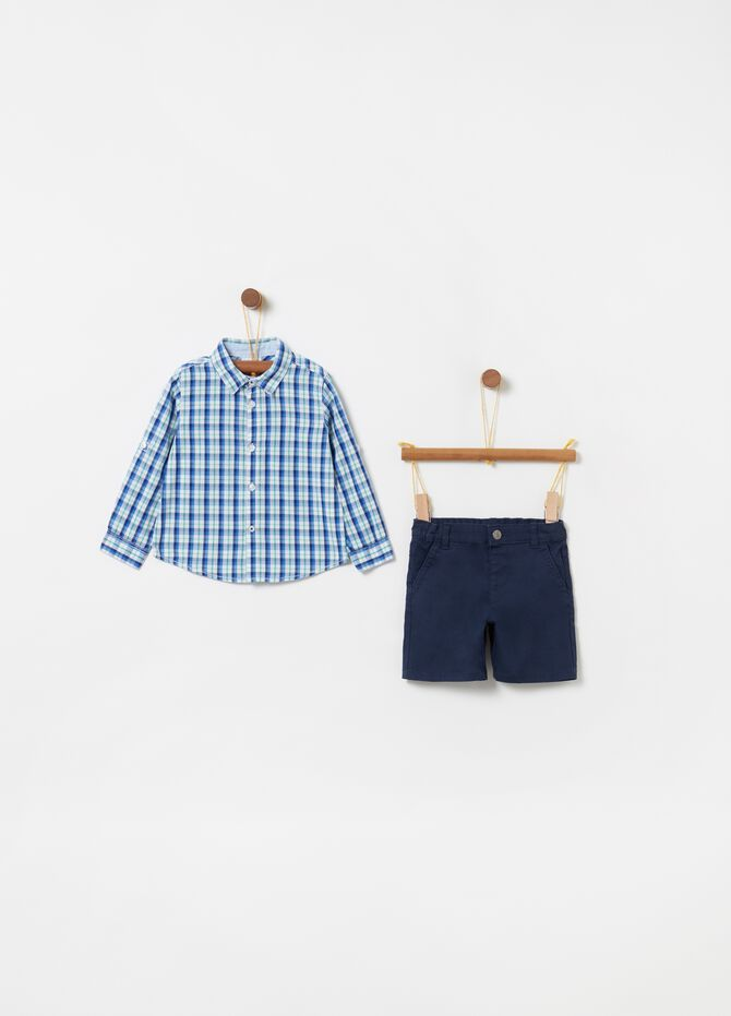 Shirt and shorts set in check cotton