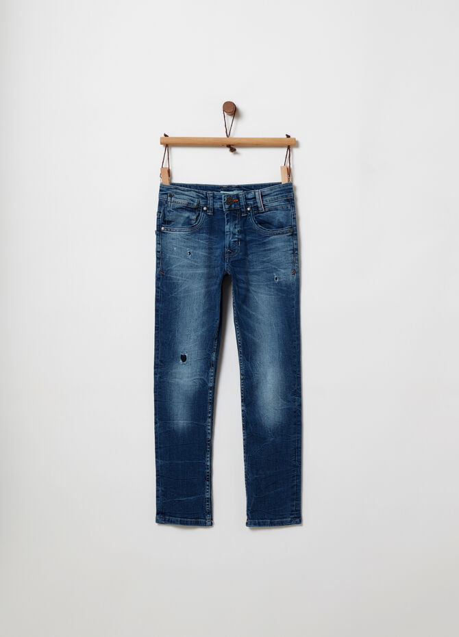 Straight-fit stretch jeans with five pockets