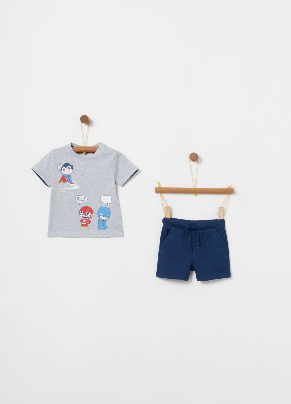 Mélange T-shirt and shorts jogging set with print
