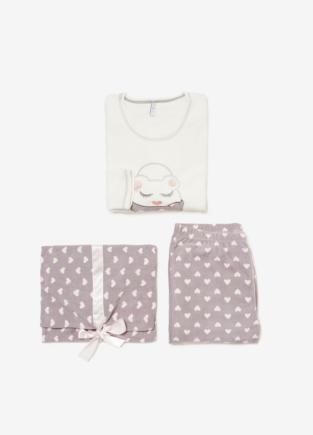 Pyjamas with embroidery, pompoms and heart pattern