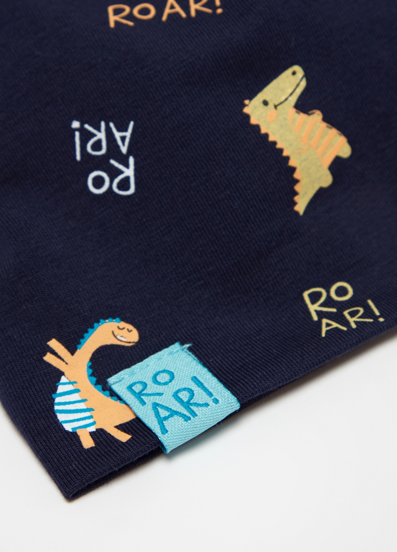 Stretch cotton hat with dinosaurs print image number null