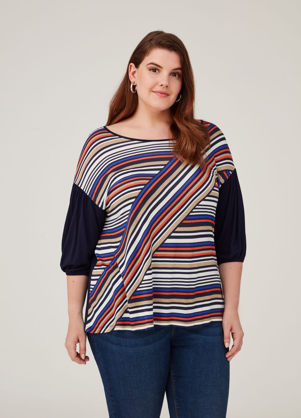 Curvy viscose T-shirt with striped pattern