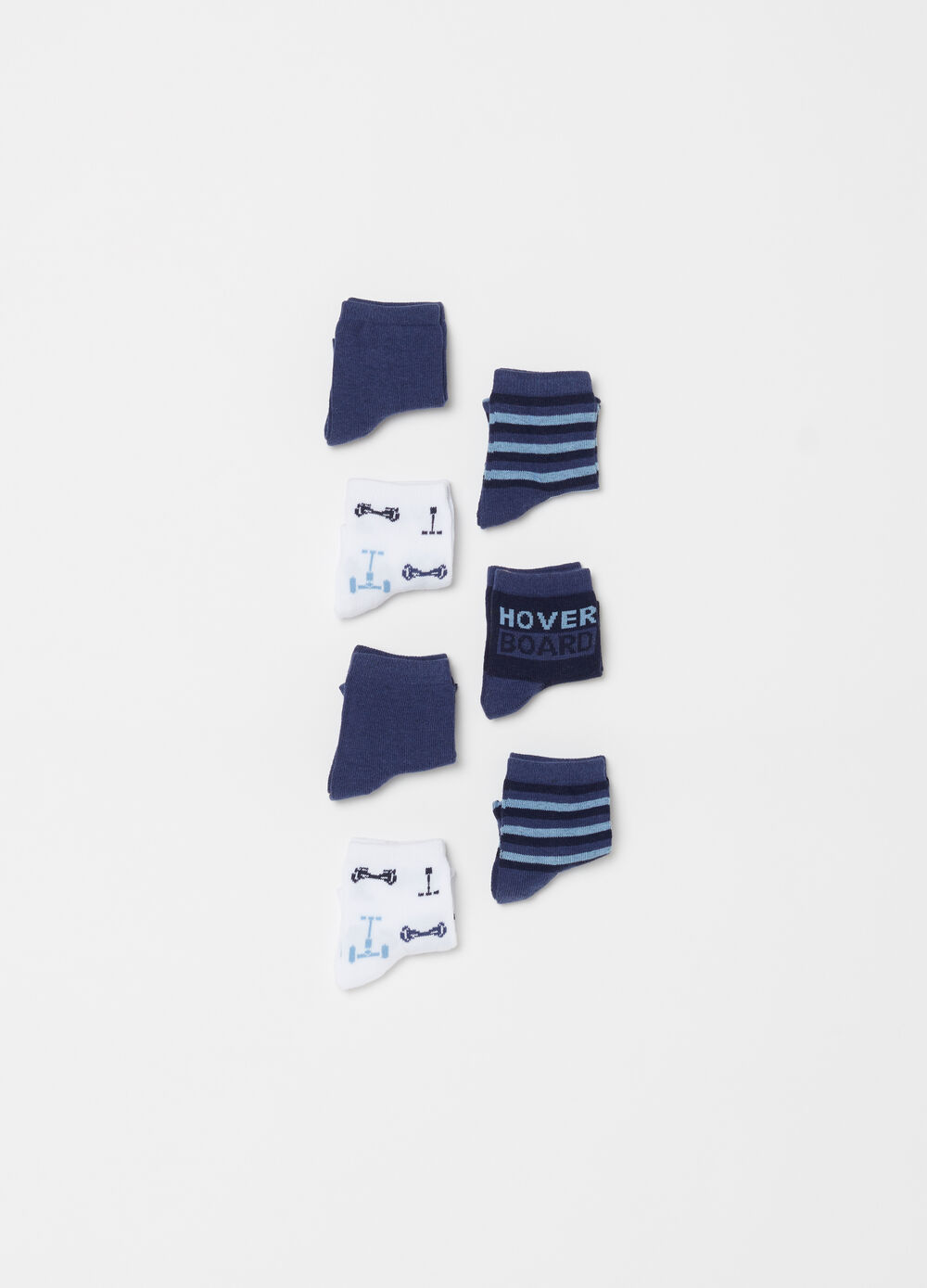 Seven-pack solid colour socks with stripes and embroidery