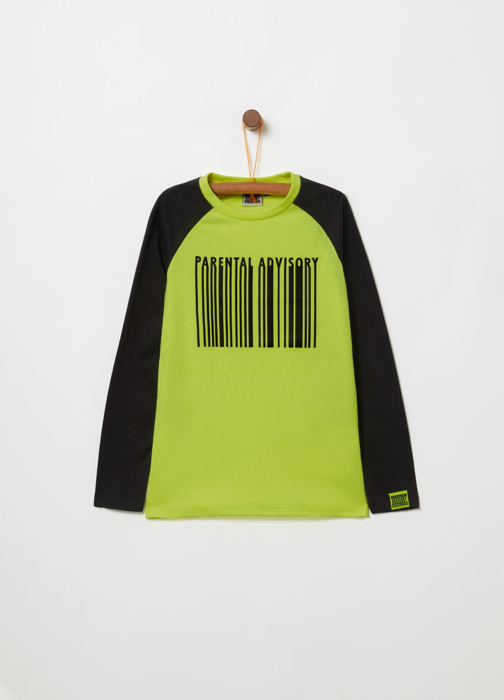 T-shirt with print and long raglan sleeves